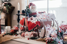 gifts in Santa's sleigh Christmas decoration