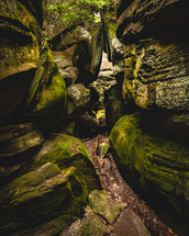 mossy rocks in a cave