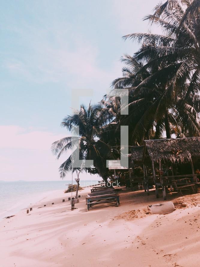 Stretch of a tropical beach.