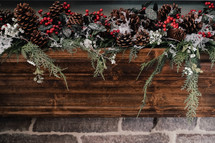 decorated mantel for Christmas