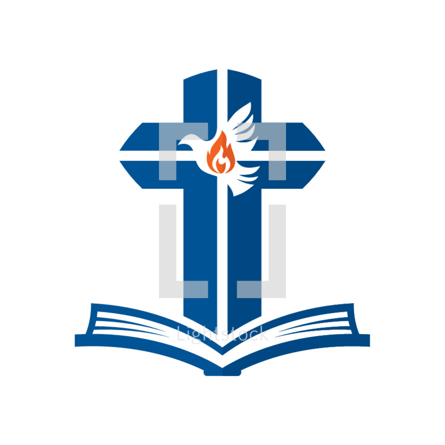 Cross, dove, tongue of fire, and open bible logo — Vector