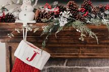 decorated Christmas mantel