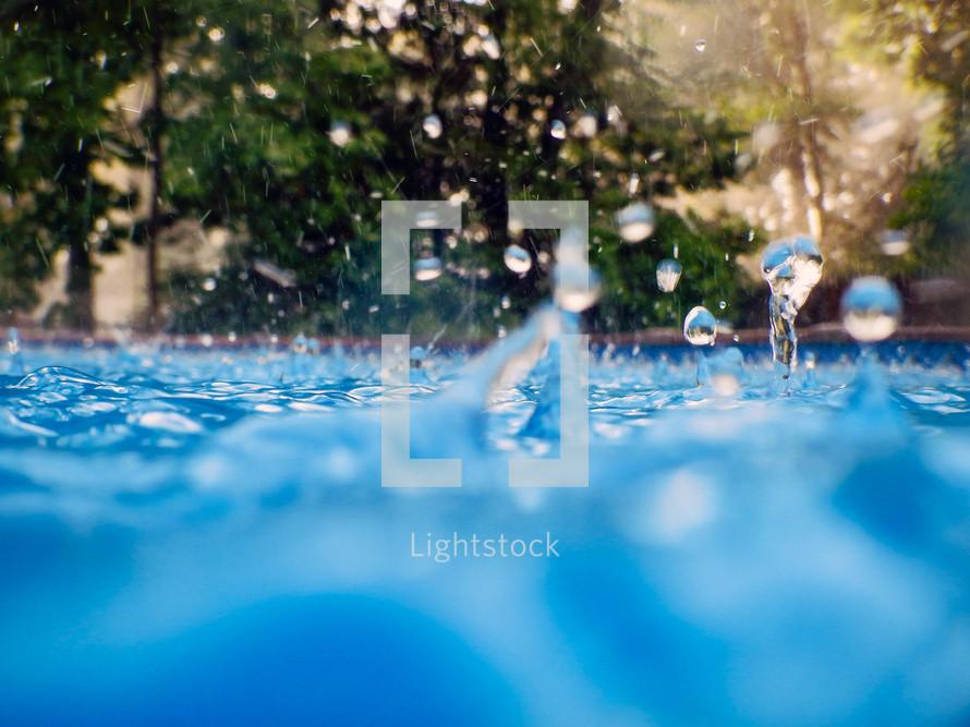 Water splashing in a swimming pool.
