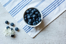 blueberries on a towel