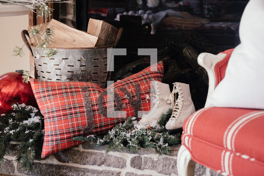 ice skates and a throw pillow Christmas decorations