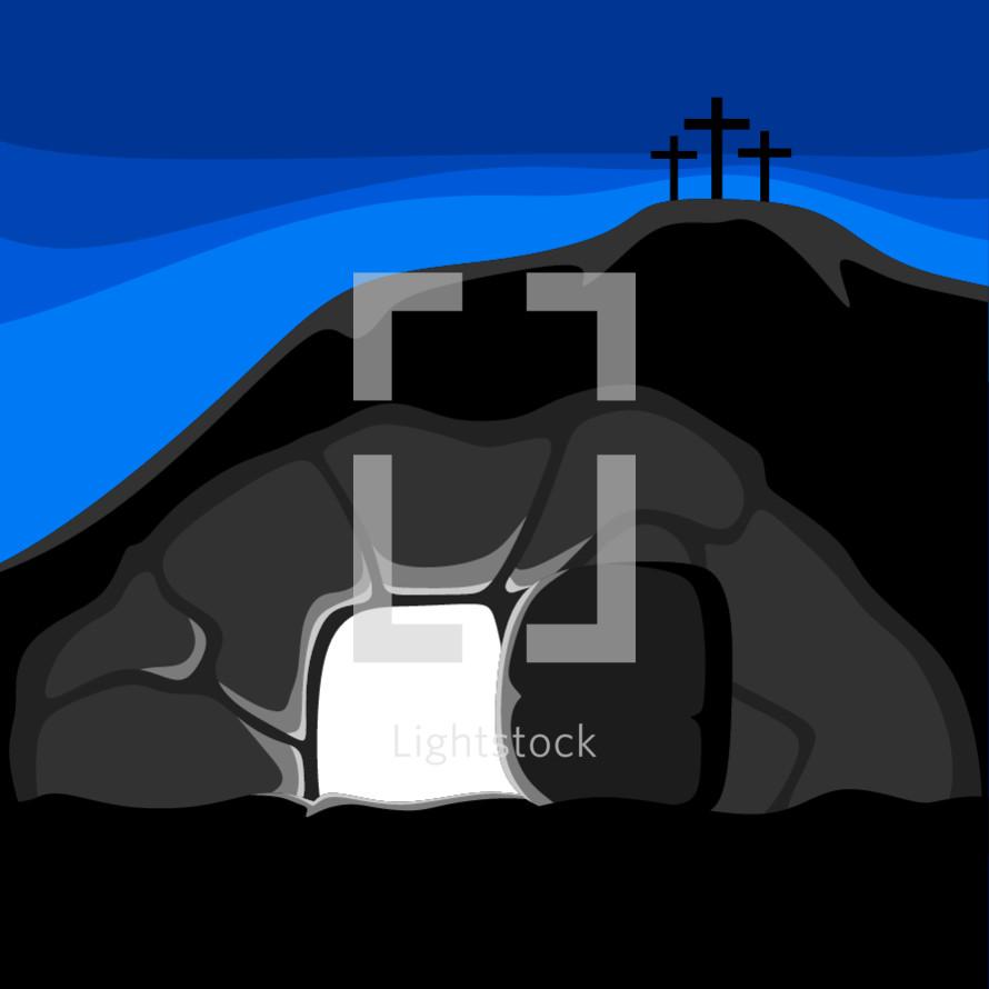 empty tomb and three crosses