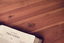BIble on a wood floor opened to Proverbs