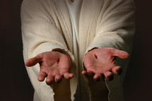 wounds on Jesus' hands