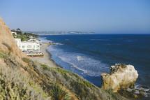 beach houses along a stretch of coastline