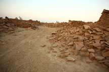 ruins, stacked, piles, stones, rocks, crumbling, walls
