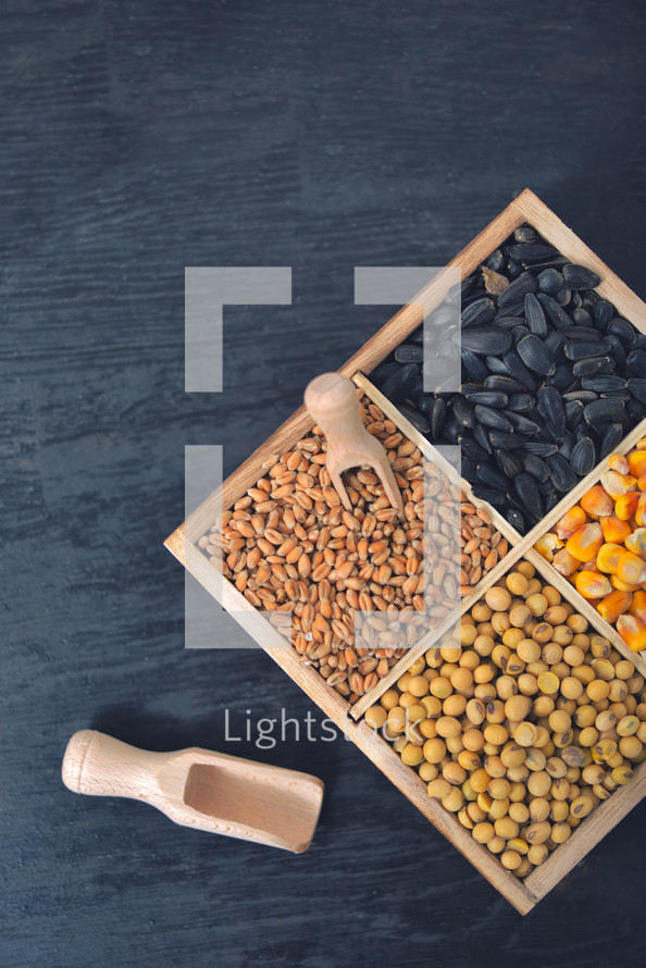 Small box with various grains and cereals on wooden table