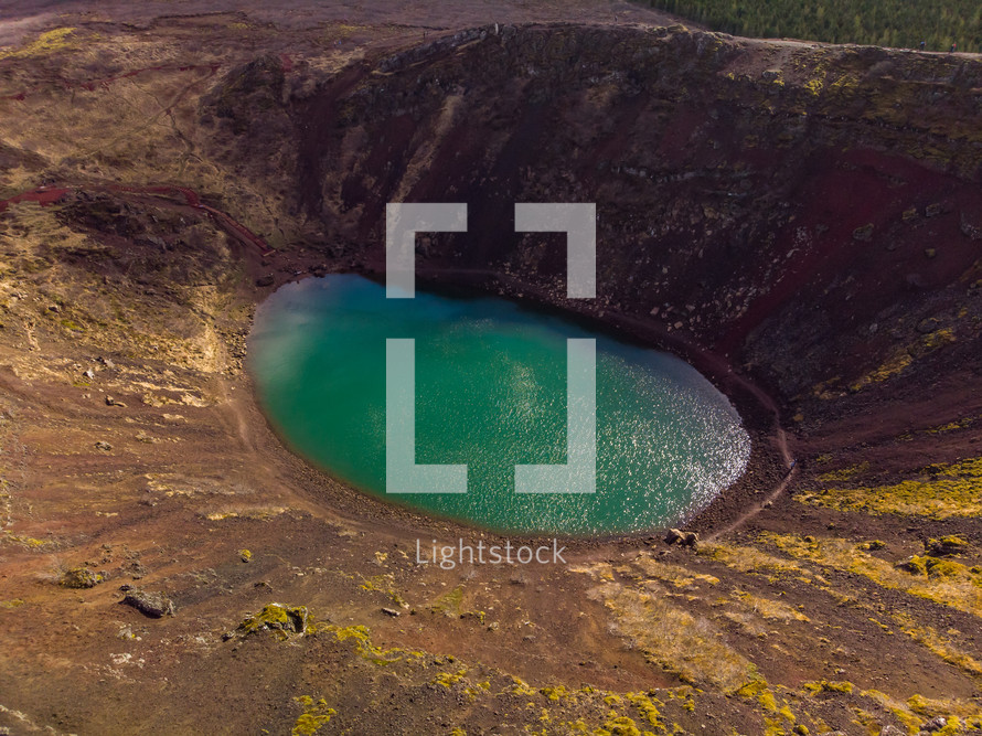 pond at the bottom of a crater