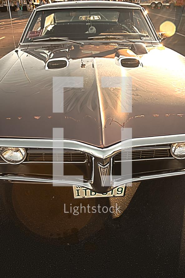 hood of old '60's Pontiac GTO