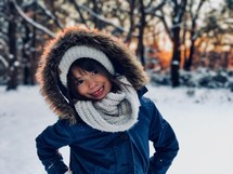 girl outdoors in the snow