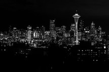 The skyline of downtown Seattle at night