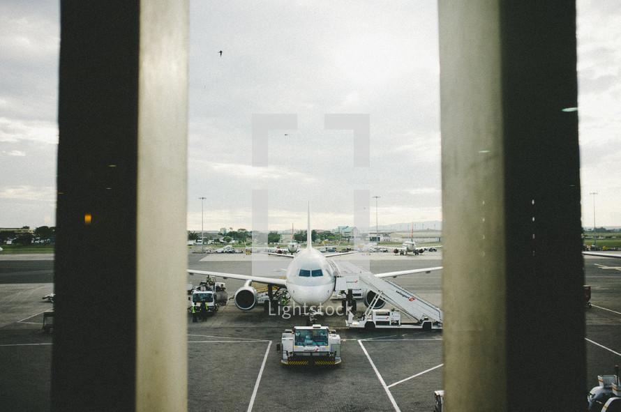 Airplane sitting on runway