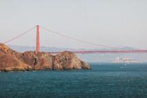 The Golden Gate Bridge with Alcatraz Prison beyond.