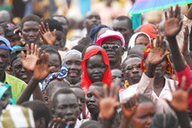 Crowd of people at an evangelistic crusade in Africa