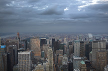 New York City aerial view skyline on cloudy day.