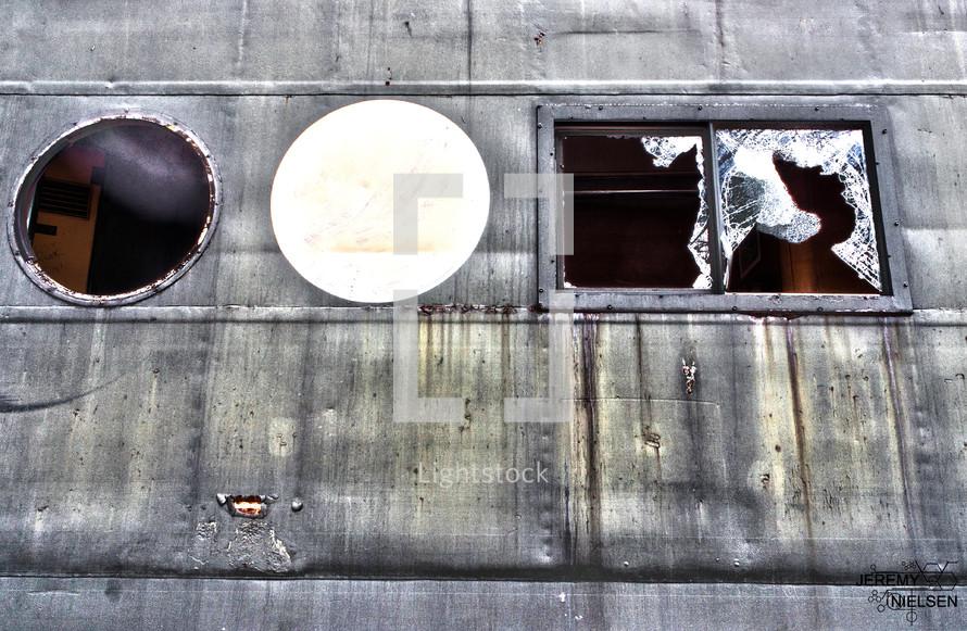 side of metal building - grunge - rusty