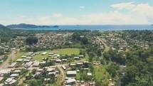 Aerial shot of coastal village in Papua New Guinea.