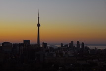 Toronto city skyline at sunrise