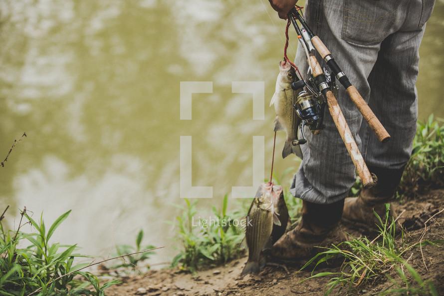 legs of a fisherman