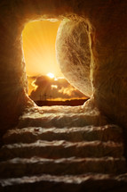 empty tomb and view of Calvary