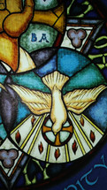 Stained Glass iconography of the Holy Spirit as a Dove in symbolic iconography.