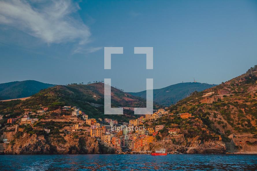 village and sea cliffs