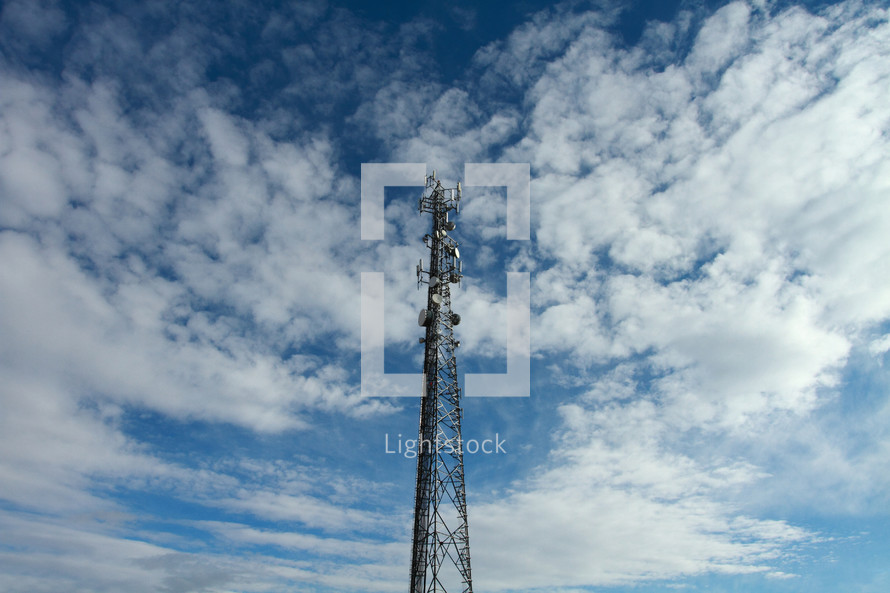 communication tower in the blue sky