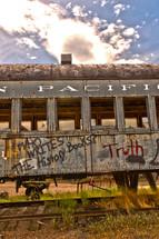 Graffiti spray painted on a train car