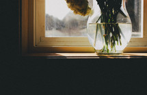 Sun shining on a vase of flowers on a windowsill.