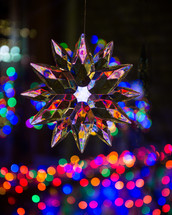 flower ornament and bokeh lights