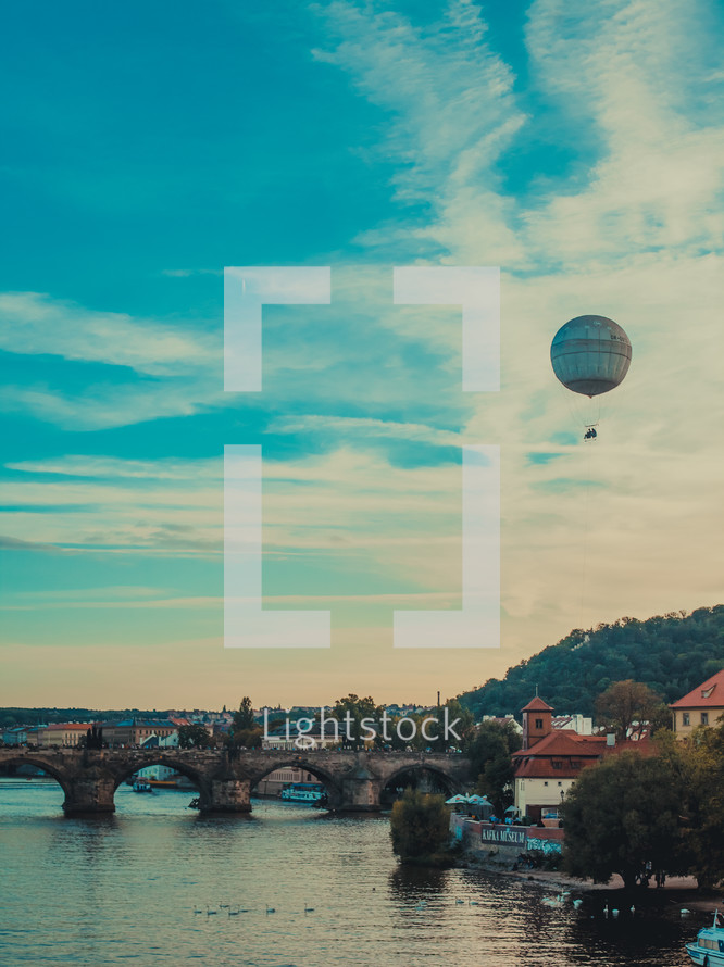 hot air balloon, river, bridge, Europe