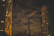 construction crane and a skyscraper