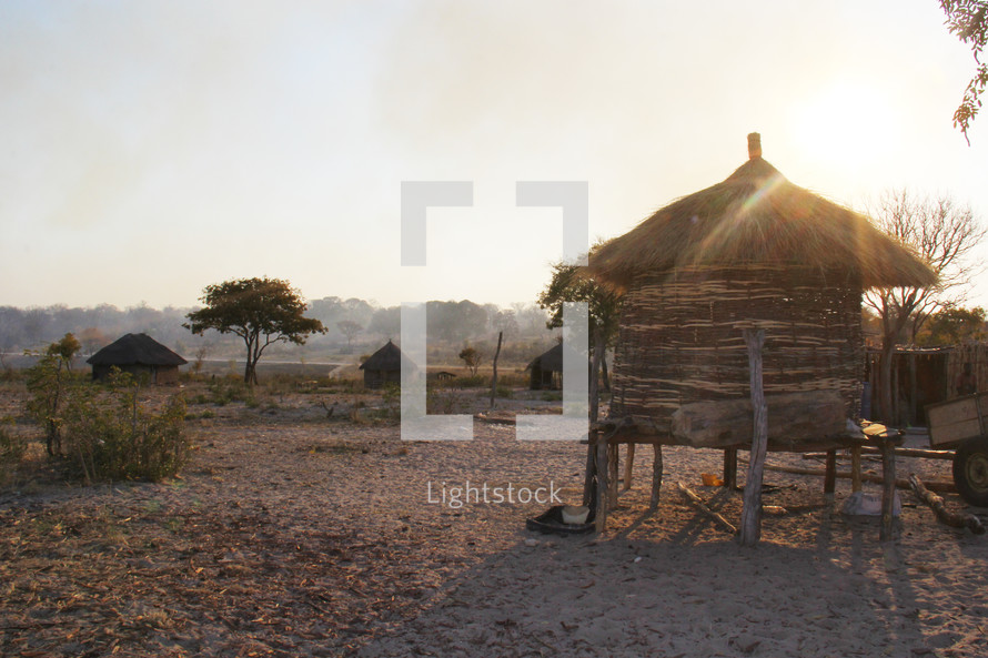 straw huts in a village