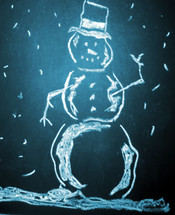A drawing of a snow man illuminating a dark blue sky with snow falling all around.  Christmas for children brings out the fun stories, memories and fun times of building snowmen, sitting in front of the fire to keep warm and celebrating the joy of Christmas with family and friends.