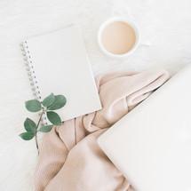 leaves, coffee mug, laptop, computer, blanket, pink, journal, paper