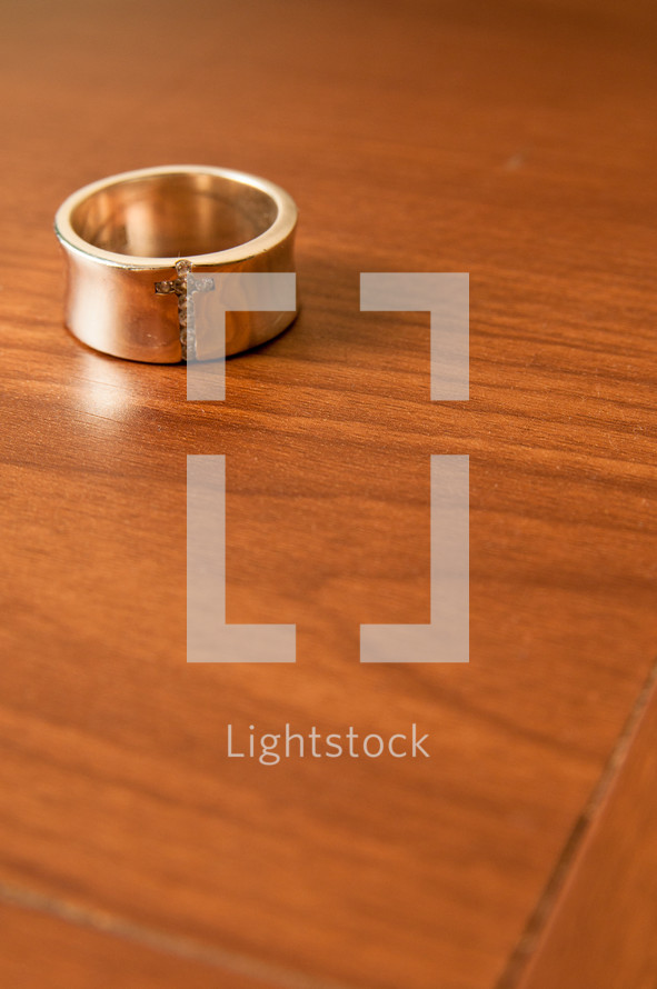 ring with an engraved cross
