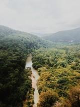 river through a mountain forest