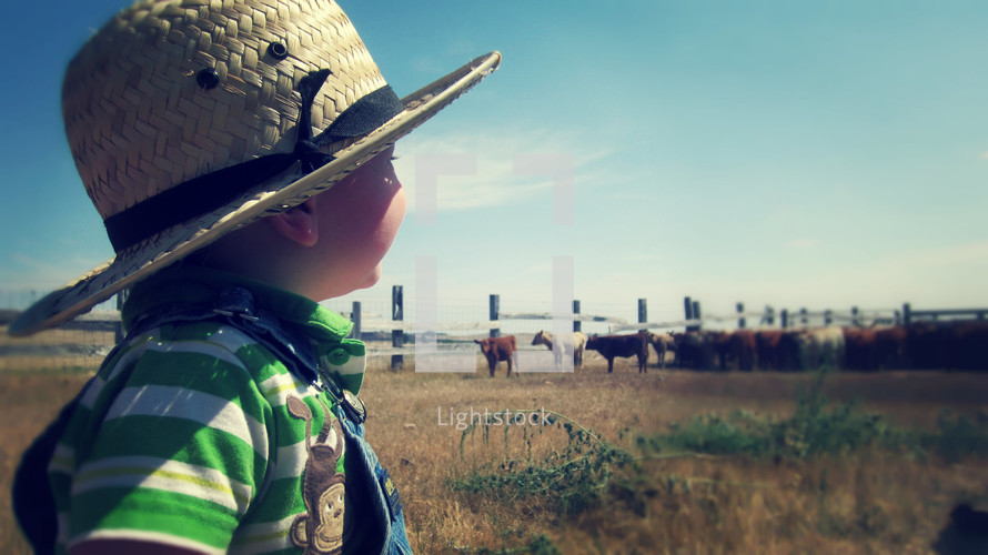 Boy in straw hat looking at pasture with herd of cows in the distance.