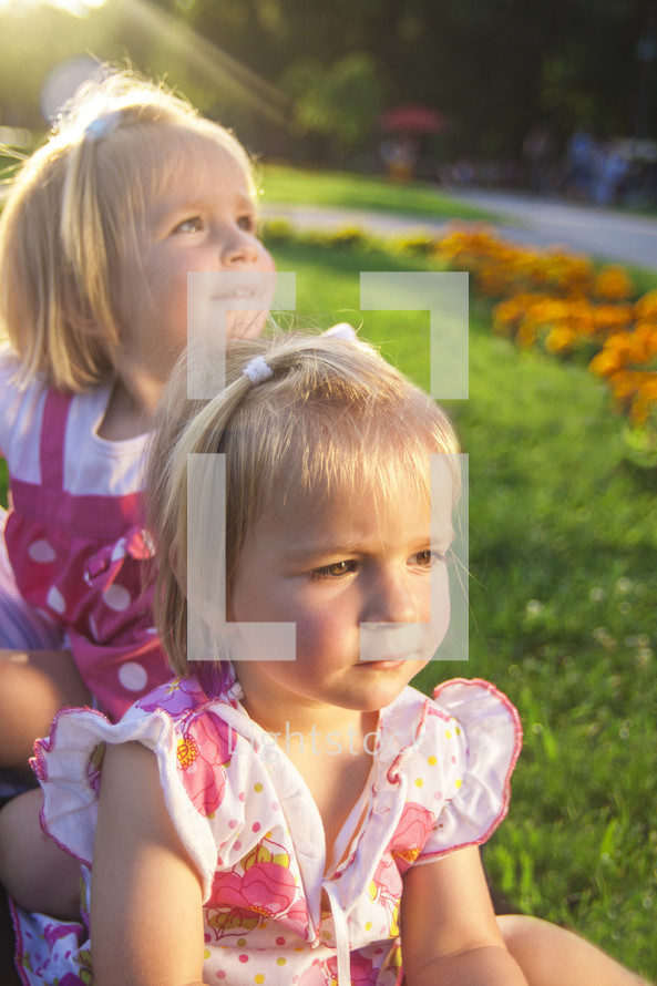 young girls in summer sunlight