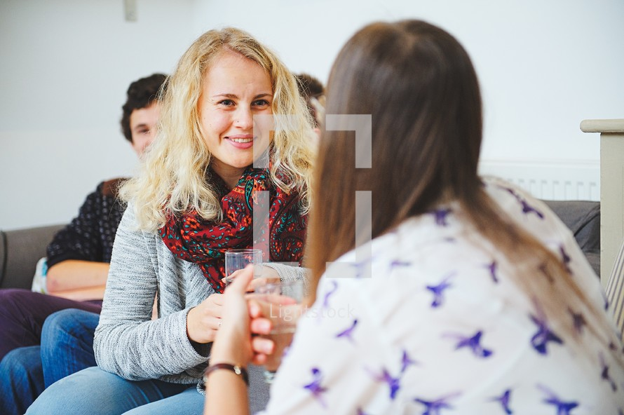 friends in conversation at youth group