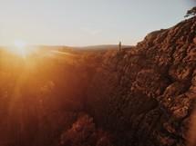 sunlight at sunrise on a mountain