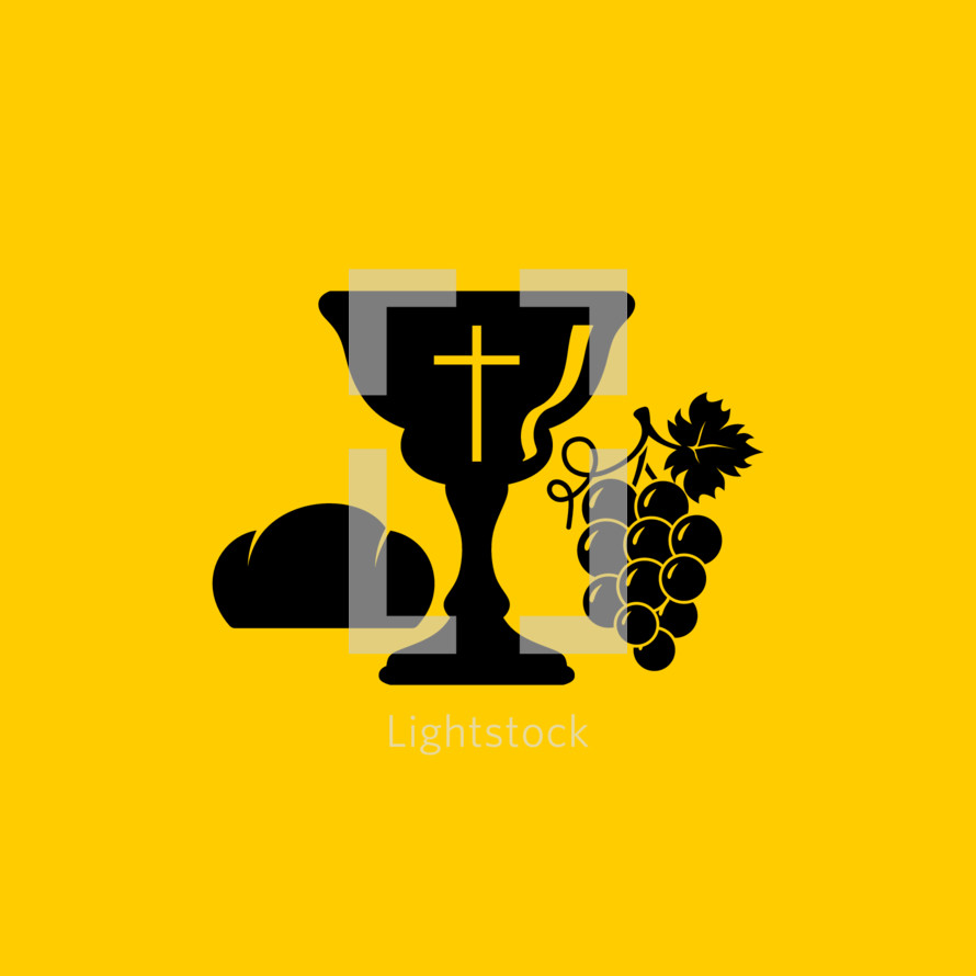 Christian symbols. Communion bowl with wine and bread.
