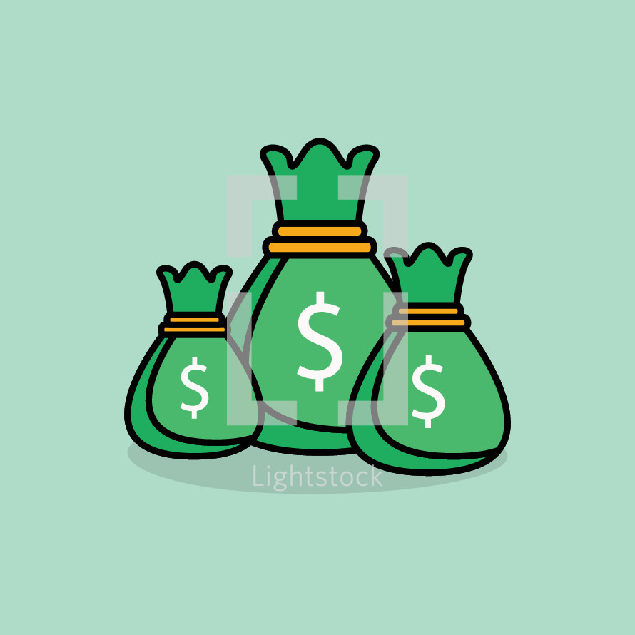 simple money bags illustration.