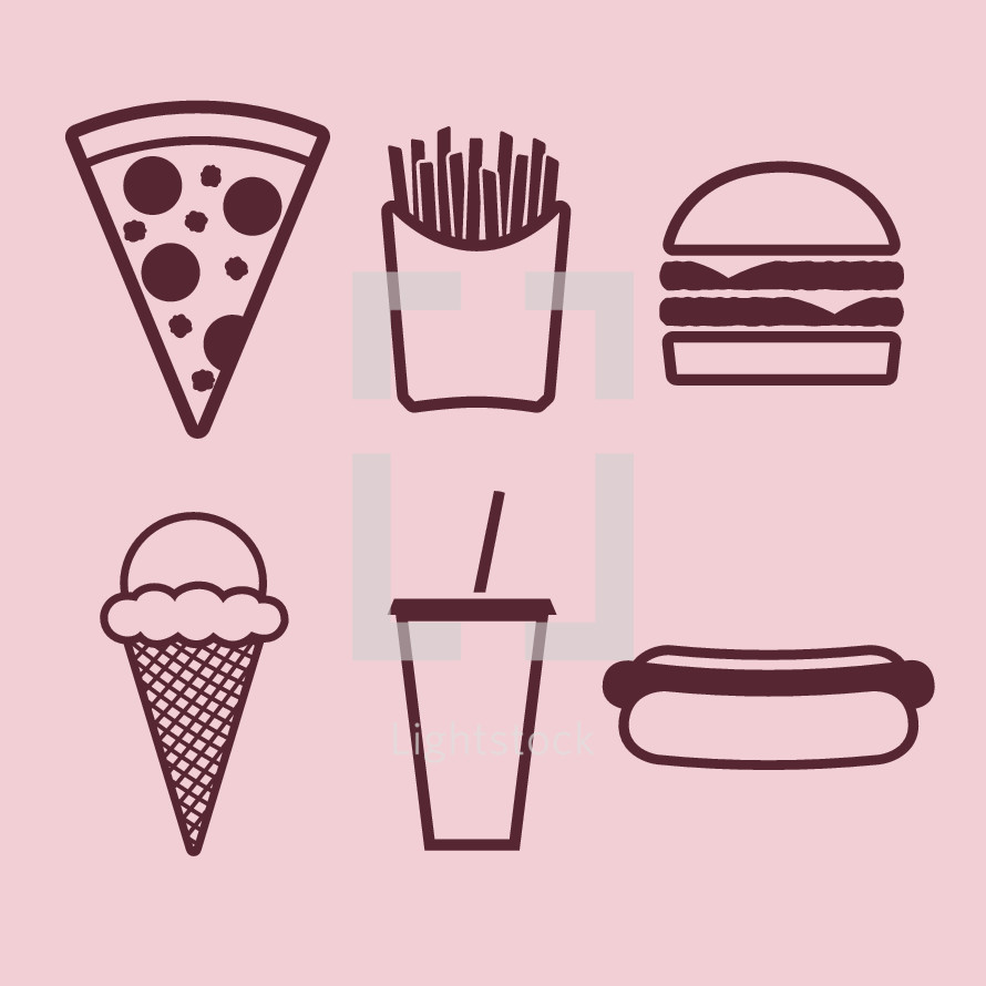 fast food, ice cream cone, ice cream, soda, hotdog, cup, pizza slice, pizza, french fries, fries, hamburger, fountain drink, icons, food