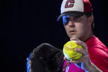 pitcher throwing a softball