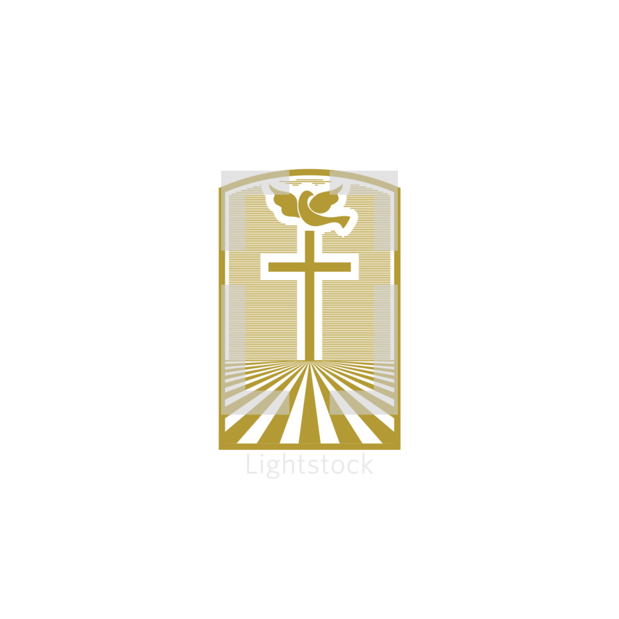Church logo. Christian symbols. The cross of Jesus and the dove - a symbol of the Holy Spirit